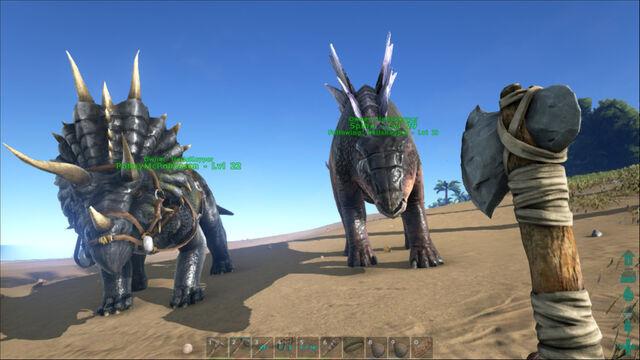 File:ARK-Triceratops and Stegosaurus Screenshot 001.jpg