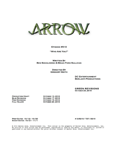 File:Arrow script title page - Who Are You?.png