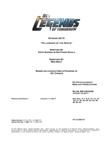 File:DC's Legends of Tomorrow script title page - Fellowship of the Spear.png