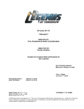 DC's Legends of Tomorrow script title page - Progeny
