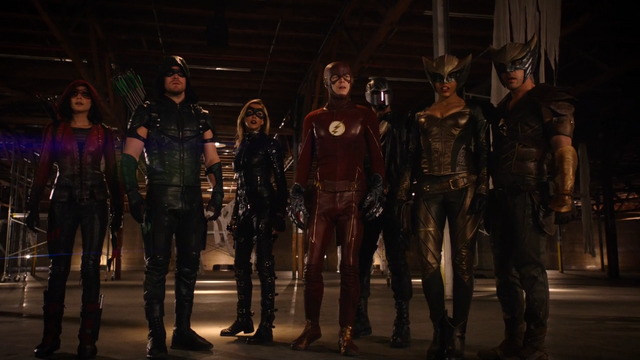 File:Speedy, Green Arrow, Black Canary, The Flash, Spartan, Hawkgirl and Carter Hall after facing Vandal Savage.png