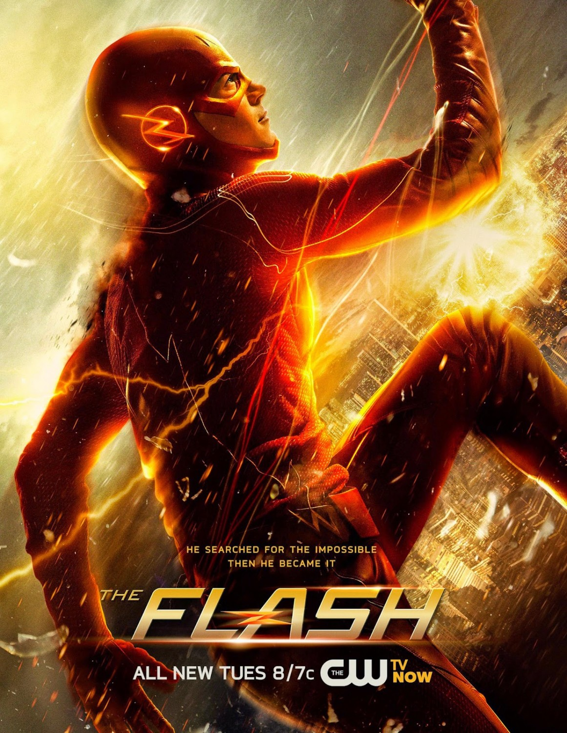 Arquivo:The Flash promo poster - He searched for the impossible Then he became it.png