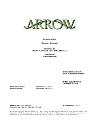 File:Arrow script title page - Code of Silence.png
