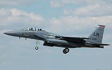 File:McDonnell Douglas F-15 arrives RIAT Fairford 10thJuly2014 arp.jpg