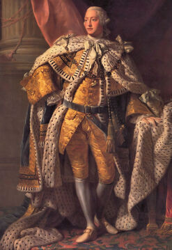 Full-length portrait in oils of a clean-shaven young man in eighteenth century dress: gold jacket and breeches, ermine cloak, powdered wig, white stockings, and buckled shoes.