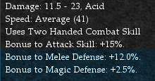 Melee Weapon Defensive Modifiers