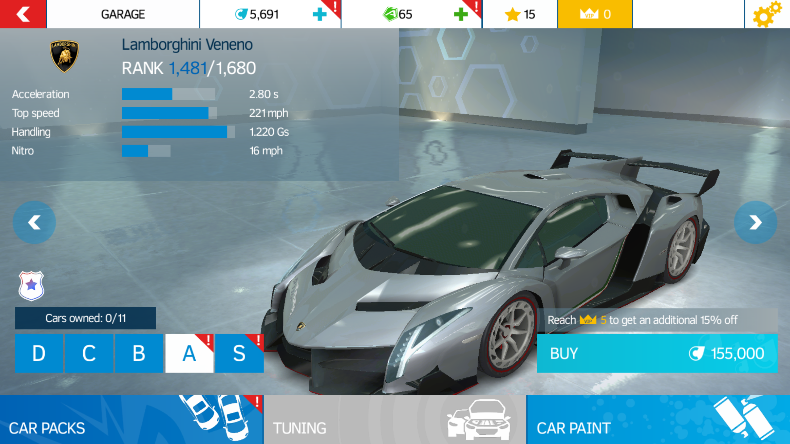 the lamborghini veneno is available in asphalt nitro from the get go as a class a car it otherwise behaves exactly identically to its asphalt 8 airborne