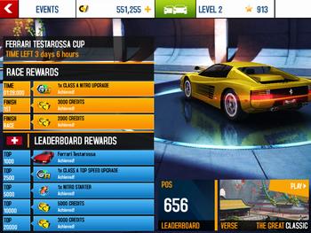 Event Rewards National Leaderboard Ferrari Testarossa Cup