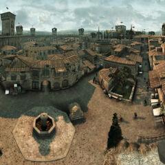 Panoramisch luchtfoto van de straten van Monteriggioni.