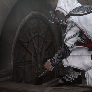Ezio Auditore unlocking a secret entrance with the Hidden Blade