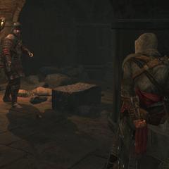 Ezio besluipt een Byzantijnse Tempelier