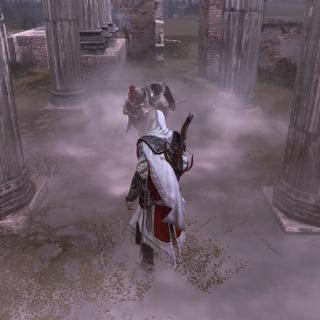 Ezio gebruikt een rookbom tegen de voorman.