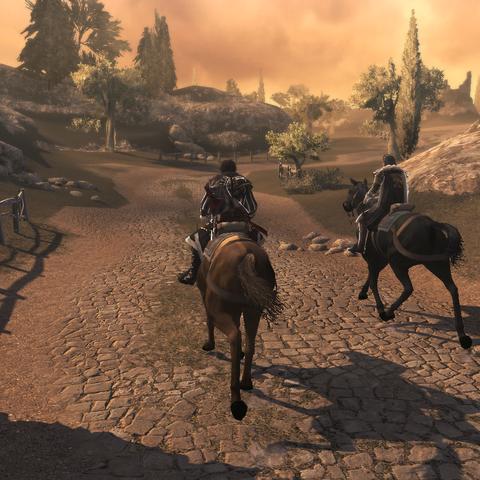 Ezio en Mario rijden voor Monteriggioni