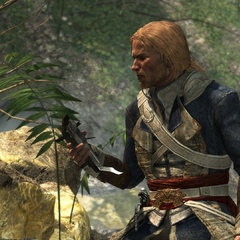 爱德华·肯维拿着一把损坏的袖剑