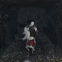 Ezio verkent de catacomben.