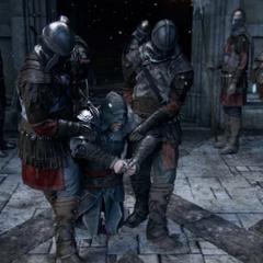 Ezio wordt naar de toren gebracht