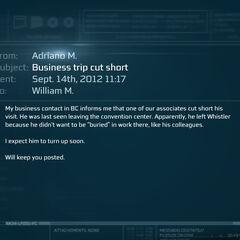 阿德里亚诺发给威廉的邮件。