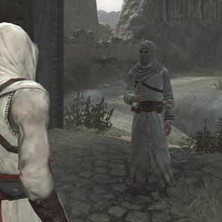 Altaïr praat met een informant.