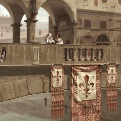 Lorenzo en Ezio op de brug.