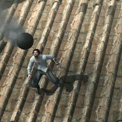 Ezio ontwijkt een kanonskogel