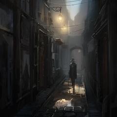 一名圣殿骑士在巴黎小巷