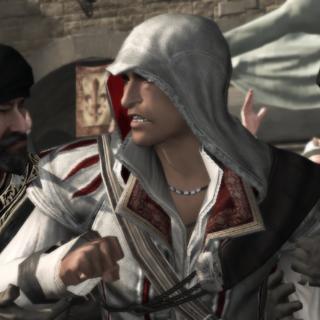 De wachters pakken Ezio.