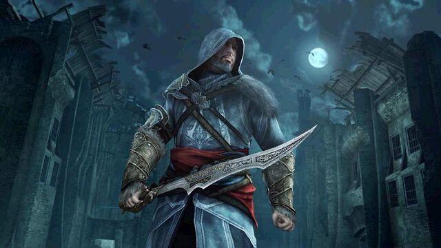 Файл:Ezio weilding Vlad's Blade.jpg
