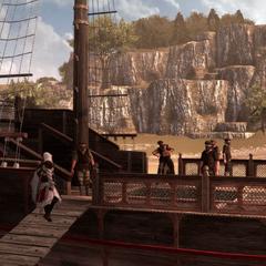 Ezio ontmoet de slavenhandelaars op hun schip