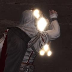 Ezio verwijdert een aanplakbiljet.