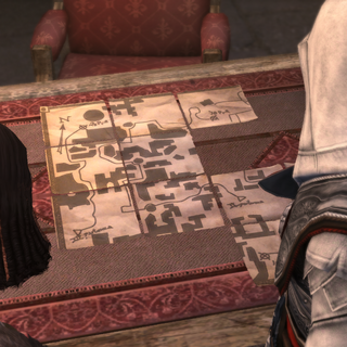 Salaì en Ezio schikken de delen van de kaart.