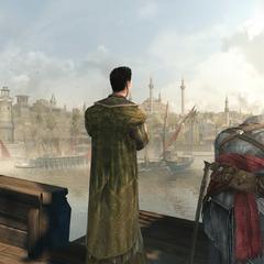Ezio en Süleyman bekijken Constantinopel