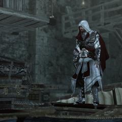 Ezio aan boord van het kanon.