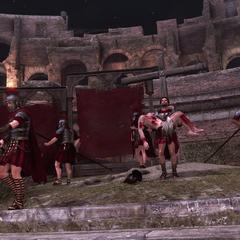 Ezio draagt Pietro naar een veilige plek.