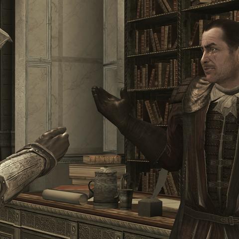 Ezio vraagt aan Mario waar <a href=