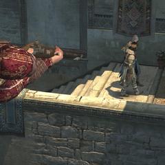 Een Byzantijn richt zijn geweer op Ezio en Yusuf
