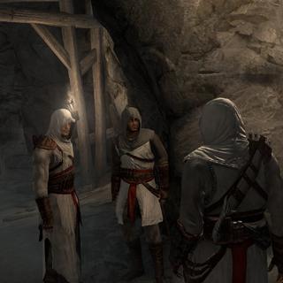 Altaïr met Kadar en Malik.