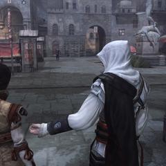 Ezio vertelt Cristina zich te verstoppen