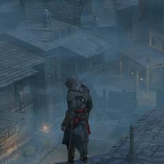 Ezio komt aan bij de schuilplaats