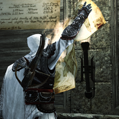 Ezio verbrandt de blauwdrukken van het kanon.