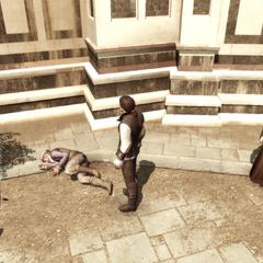 Ezio bij een verslagen Duccio.