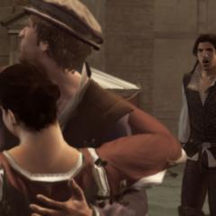 Ezio ziet Duccio met zijn vriendin.