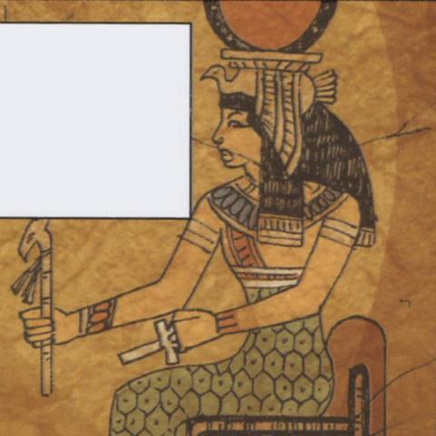 Een oude muurschildering van Isis met de scepter en de ankh.