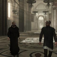 Een monnik en een schilder.
