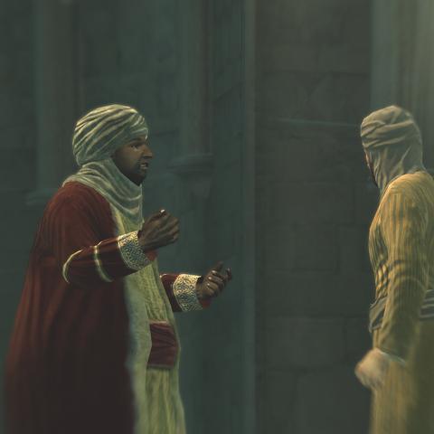 De twee kooplieden in gesprek.