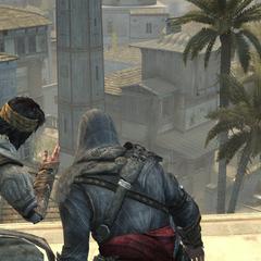 Ezio en Yusuf praten over het plan