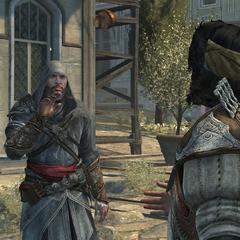 Yusuf geeft Ezio een bom