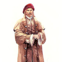 Concept art van Leonardo op latere leeftijd.