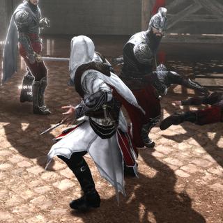 Ezio vecht met de Borgia-wachters