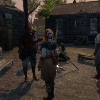 Aveline praat met een slaaf