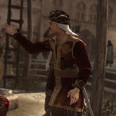 Tamir tegen zijn kooplui.